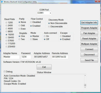 Bluetooth Wireless Serial Adapter Configuration Utility